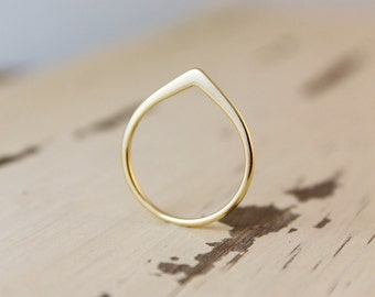Gold Pointy Ring - Silver Point Knuckle Ring - Choose Your Setting, Chevron Rings, Sterling Silver Ring, Gold Ring, Tear Drop, Water Drop