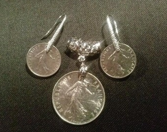 French Coin & Silver Pendant and Earring Set
