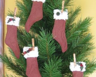 Primitive Christmas Stocking Ornaments - Set of 5 - Grungy Fabric - Primitive Christmas Ornies - Holiday Decor - Stocking Decorations