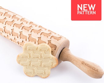 Welsh Corgi Pembroke - Embossed, engraved rolling pin for cookies