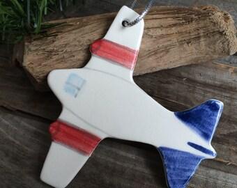 Airplane Ornament, Travel Ornament, pilot ornament for boy, aviator ornament, handmade ceramic airplane ornament, Vacation Ornament,