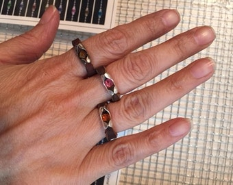 Leather Rings- womens, mens leather, sterling, crystal or semi-precious stones , message rings