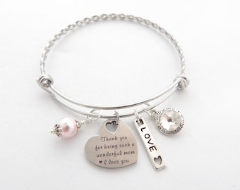 I Love You Mom Bracelet-Gift from Daughter-Gift from Son Mother's day Jewelry-Thank you Mom Jewelry-Wonderful Mom-Heartfelt Mothers Day Gift