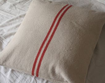 Removable cushion old red striped linen