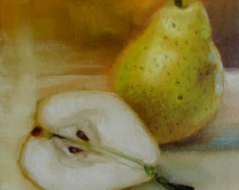 Fruit Painting by CES - Original Mini Oil Painting Still Life Painting Pear Painting Impressionist Art Fruit Kitchen ART 6x6 Small Wall Art