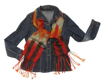 Striped Handwoven Scarf Brown, Orange and Red Scarf, Hand Woven Scarf, Tencel Scarf Orange, Yellow and Bronze Scarf, Striped Scarf Fall
