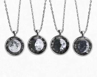 Moon Phases Necklace Set | Full Moon Necklace Moon Jewelry Quarter Moon Crescent Moon Boho Jewelry Boho Necklace Moon Phase Galaxy Necklace