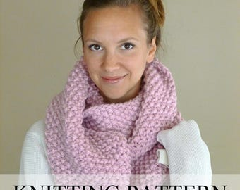 Knitting PATTERN, Knit Cowl Pattern, Knit Infinity Scarf Pattern, Knitted Chunky Textured Cowl Pattern, Neckwarmer Pattern, Circle Scarf