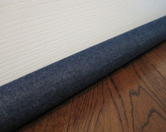DENIM door draft stopper, draft snake, draft dodger, light noise blocker. Dark denim fabric.