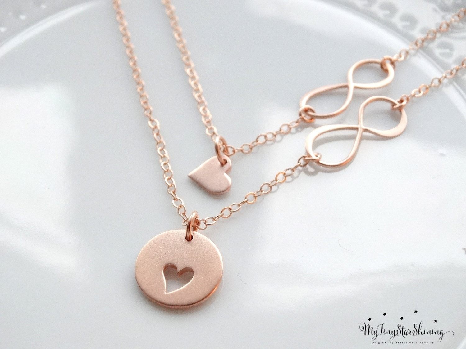 Mother daughter necklace set rose gold necklace infinity heart mother daughter necklace set rose gold necklace infinity heart necklace mother daughter jewelry mother of the bride gift set of 2 aloadofball Images