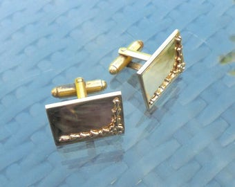 Vintage Gold Tone Metal Cufflinks - Oblong Fronts withT Bar Fittings - Mirror Finish Engravable  with Gift box.