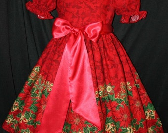 Red POINSETTIAS & SATIN Deluxe Christmas Dress