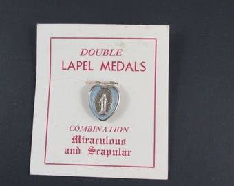 NOS Carded Vintage Miraculous Medal Double Lapel Medal,1960 Combo Miraculous & Scapular Lapel Medals,Mid Century Blue Enamel Catholic Medals