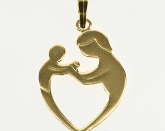 14k Parent and Child Heart Design Charm/Pendant Gold