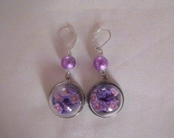 LIQUIDATION silver dome earrings violet purple flowers