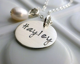 Personalized Name Necklace - Gift for Mom Grandma - Hand Stamped Name Necklace - Silver Name - Mom Necklace - Dainty Silver Necklace - Gift