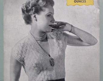 Vintage 1940s Knitting Pattern Women's Lacy Top Blouse Jumper Sweater 40s original pattern WW2 WWII wool rationing UK Golden Eagle No. 1031
