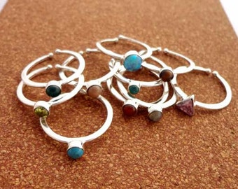 Birthstone Rings Sterling Silver Natural Pink Opal Gemstone Adjustable Dainty Stacking Rings Jewelry Gift   Size-6.50, 7, 7.75 # 12715
