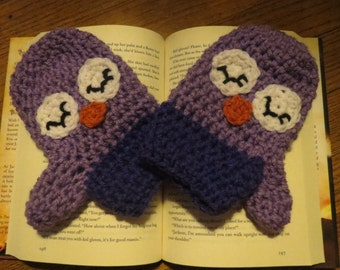 Sleepy Owl Mittens/Child Mittens/Toddler Mittens/Teen Mittens/Adult Mittens/Owl/Owl Mittens/Crochet Mittens/Crochet Owl