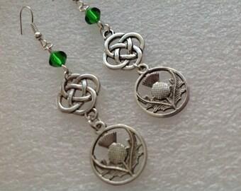 Antique Silver Celtic Thistle Earrings, Dangeling Earrings