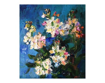 White Flowers - Original Oil Floral Still Life Painting - Abstract Art Impasto Thick Paintings Texture Colourful Oils Blue Turquoise Vibrant