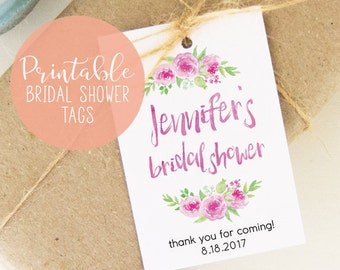DIY Printable Bridal Shower Tags, Print at Home Favor Tags, Printable Favor Gift Tags, Bridal Shower Tags