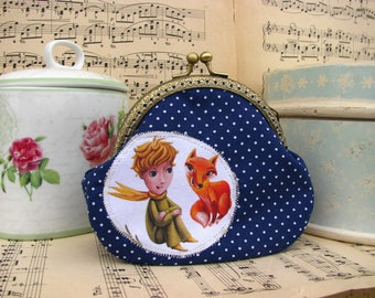 Coin purse clutch with Little Prince and fox, kiss lock purse