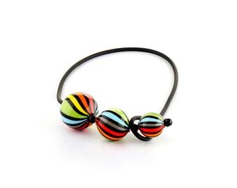 "Murano Glass Blown Necklace ""SUGE HIRO MULTICOLOR"", Handmade Glass Jewel, 3 Murano Glass Beads, Venetian Roll-Up Tecnique by JoGa Glass"