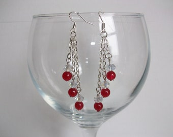 Ruby red gemstone and crystal chain drop  earrings