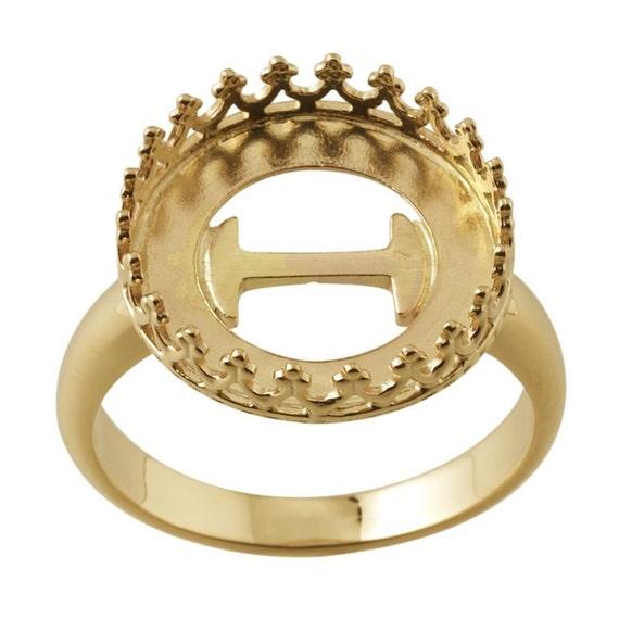 14 K Gelb Gold Runde Galerie Draht Lünette Ring Montage