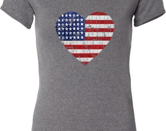 Distressed USA Heart Ladies V-neck Tee T-Shirt WS-16253-1005