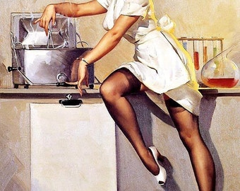 NURSE Pin-Up Elvgren - WHATS COOKING Doctor Pin-Up Burlesque Stockings Art deco Lingerie Wwii 1940's Nose Art Pinup