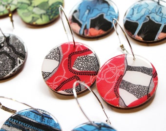 "Large disc earrings – ""Red Earth"" (wearable art, statement earrings, illustration)"