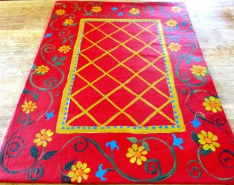 FLOORCLOTH  Country Primitive decor  Painted rug  4'x6'