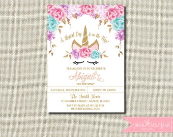 Unicorn Birthday Invitation, Magical Unicorn Invite, Floral Unicorn Invitation, Unicorn Face, Pink Purple Unicorn Party, Pink, Purple, Aqua