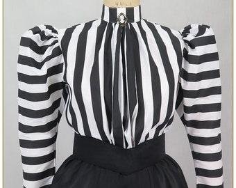 Black & White Stripe Victorian Blouse
