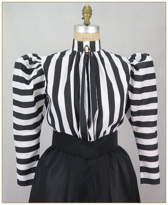 Victorian Costumes: Dresses, Saloon Girls, Southern Belle, Witch Black & White Stripe Victorian Blouse $59.00 AT vintagedancer.com