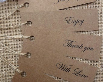 Thank you, Drink me, With love, Kraft Gift Tags Vintage Wedding Favours Labels & Twine