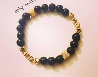 Wife/Mama •BOHO Luxe• Rhinestone Square Bracelet