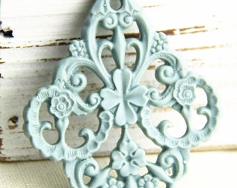 12pcs of german filigree charm 0289-45x55mm-38-powder blue