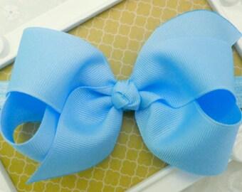 """Blue Bow Headband Easter Baby Headband Blue Baby Bow Headband Blue Newborn Headband Medium 4"""" Bow Headband Pastel Blue Headband with Bow"""
