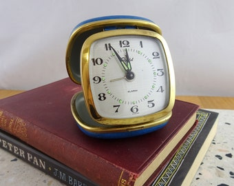 Small Vintage Travel Alarm Clock , Wind Up Mechanical Clock , Starlet, Made in Japan