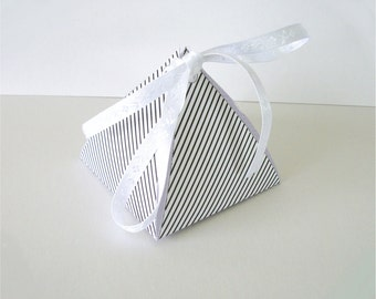 Printable Favor Box Classic Black and White Stripes Pyramid Gift Box