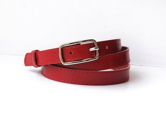 Red leather belt, red color belt for women, ALL SIZES