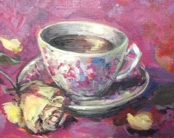 "English Tea cup and rose original painting  5 x 7"""
