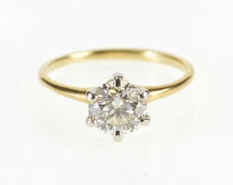 14K 1.05 Ct Round Diamond Solitaire Engagement Ring Size 5.25 Yellow Gold