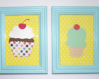 Home Decor, Wall Hangings, Ice Cream, Cone, Pastel, Yellow, Kitchen Decor, Cupcake, Desserts, Baked Good, Ice Cream Parlor, Cherry on top