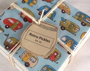 Ceramic Tile Coasters - Retro Style Caravans