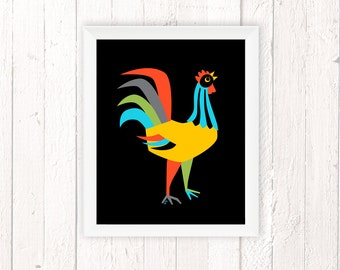 Rooster Kitchen Decor, Chicken Print, Colorful Rooster Art, Retro Kitchen 11x14