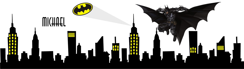 Great Room Designs Gotham City Buildings With Batman Emblem Vinyl Wall Decal